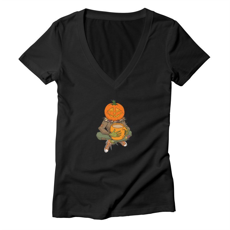 Pumpkin Spice Women's Deep V-Neck V-Neck by RichRogersArt