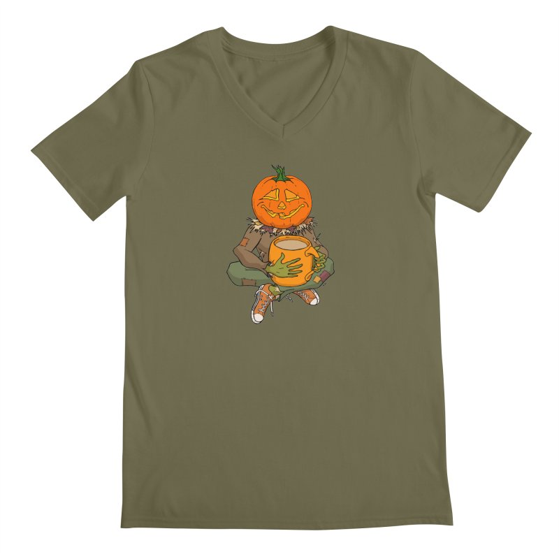 Pumpkin Spice Men's Regular V-Neck by RichRogersArt