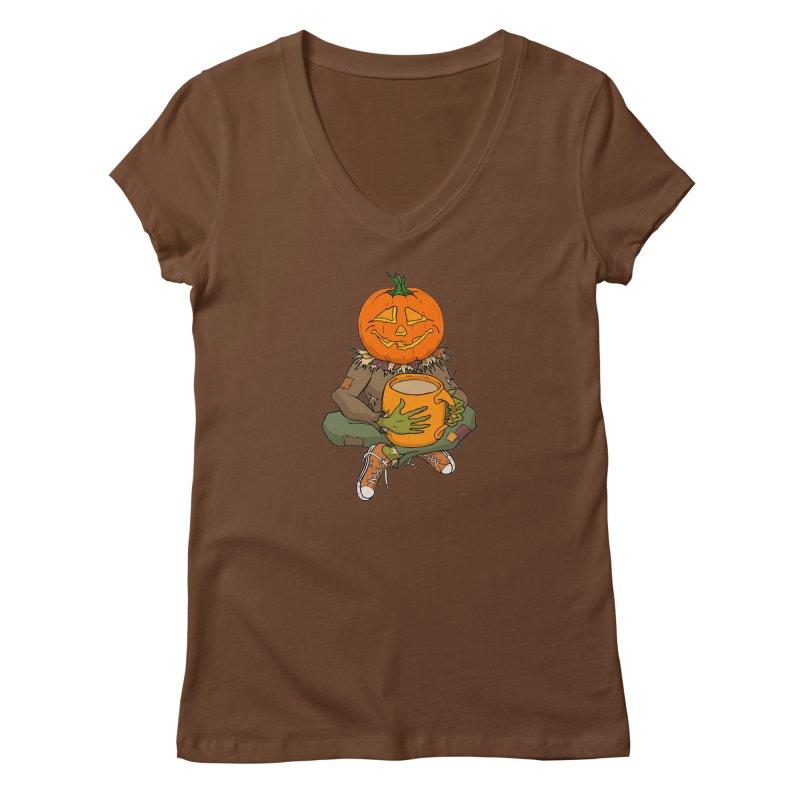 Pumpkin Spice Women's Regular V-Neck by RichRogersArt