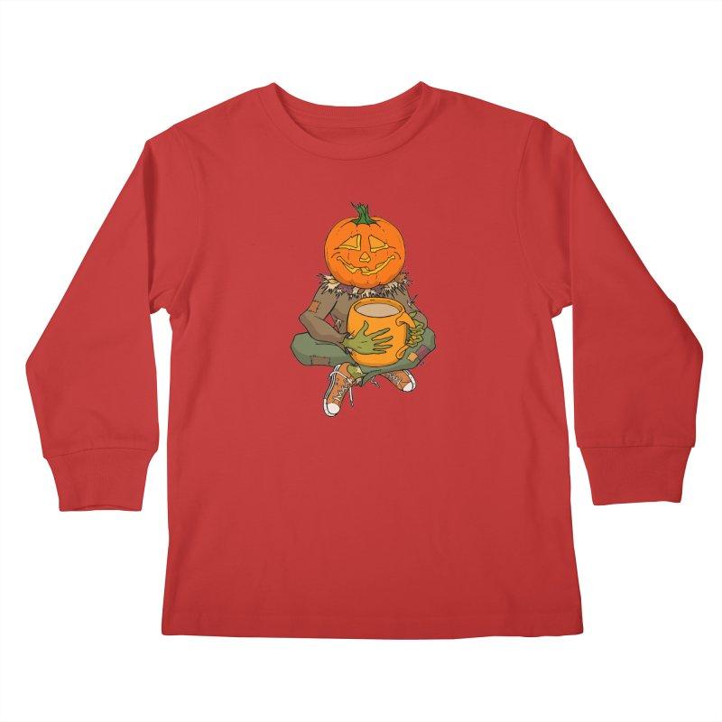 Pumpkin Spice Kids Longsleeve T-Shirt by RichRogersArt