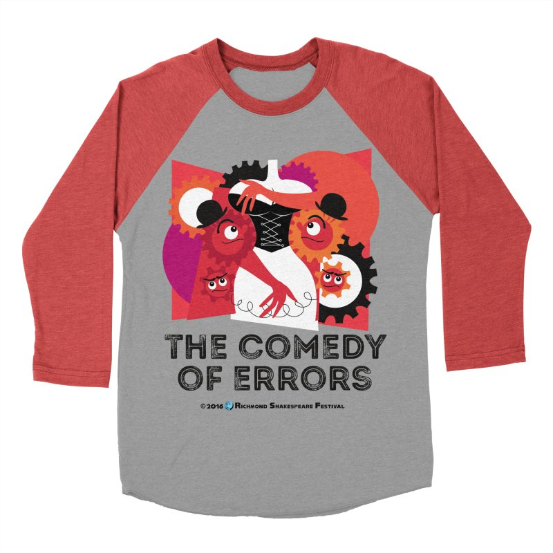 The Comedy of Errors in Men's Baseball Triblend T-Shirt Chili Red Sleeves by Richmond Shakespeare Festival' s Artist Shop