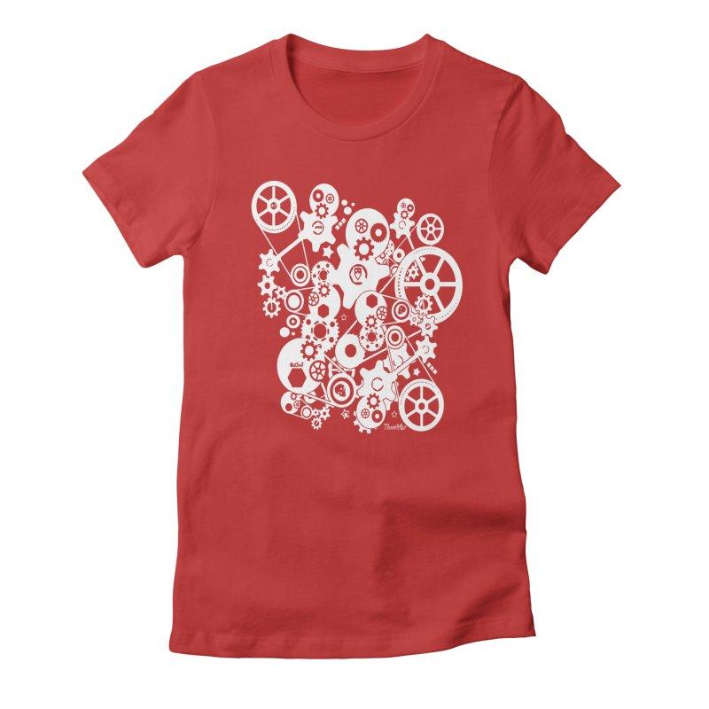 Doomfellaz Steampunk Gears (light) Women's Fitted T-Shirt by Ricksans's Artist Shop