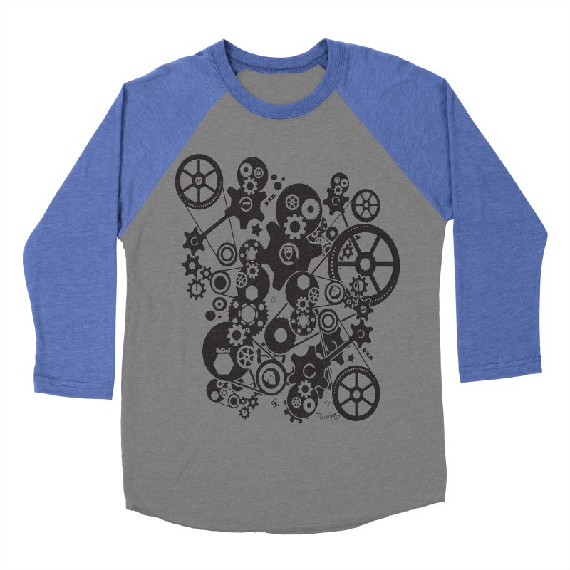 Doomfellaz Steampunk Gears (dark) Women's Baseball Triblend T-Shirt by Ricksans's Artist Shop