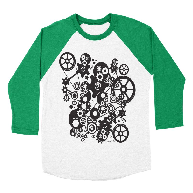 Doomfellaz Steampunk Gears (dark) Men's Baseball Triblend T-Shirt by Ricksans's Artist Shop