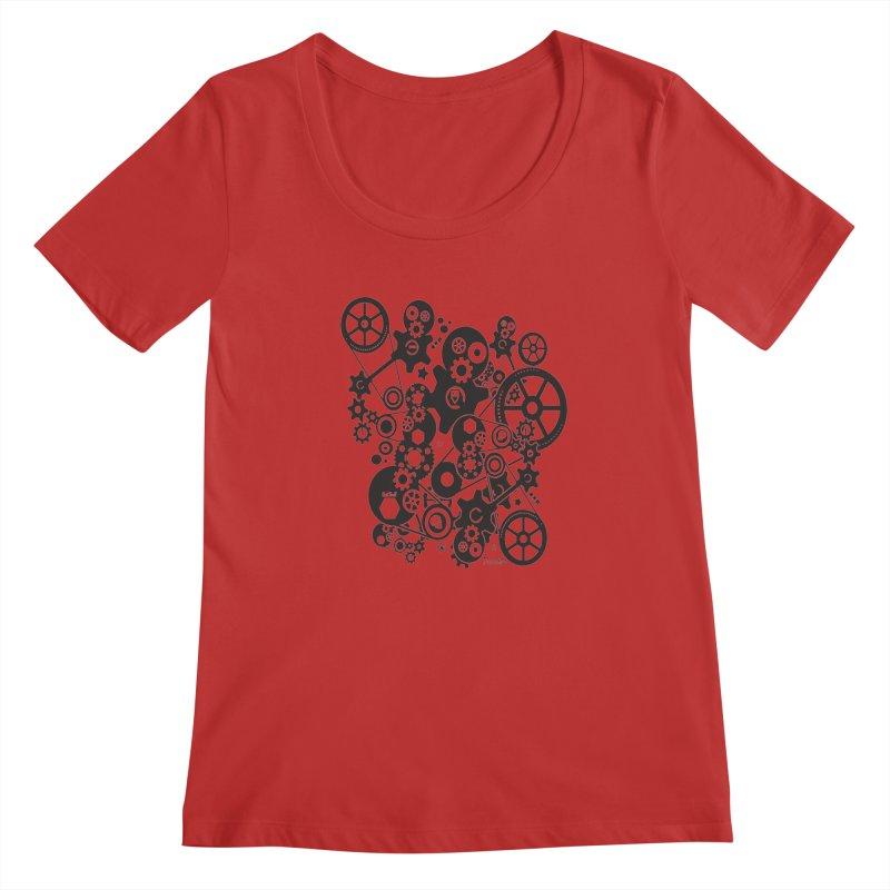 Doomfellaz Steampunk Gears (dark) Women's Scoopneck by Ricksans's Artist Shop