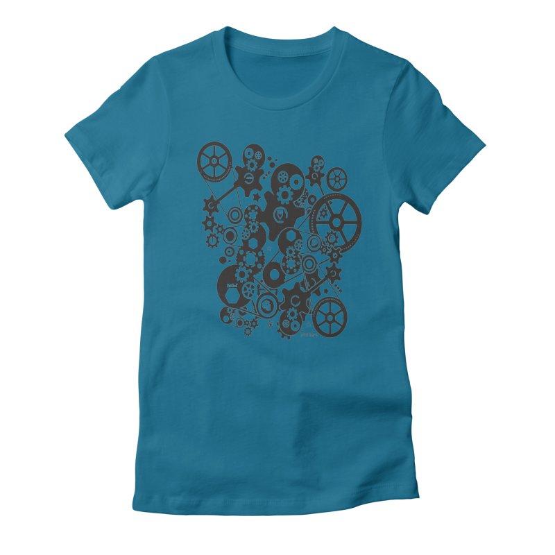 Doomfellaz Steampunk Gears (dark) Women's Fitted T-Shirt by Ricksans's Artist Shop