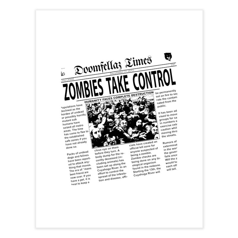 Doomfellaz Zombie Newspaper Home Fine Art Print by Ricksans's Artist Shop