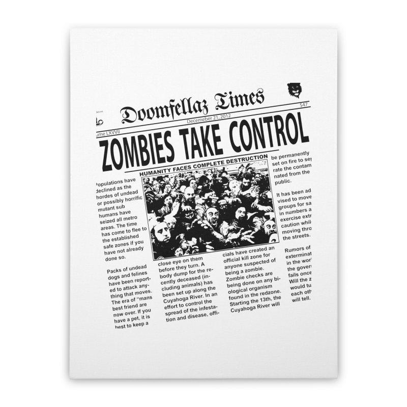 Doomfellaz Zombie Newspaper Home Stretched Canvas by Ricksans's Artist Shop