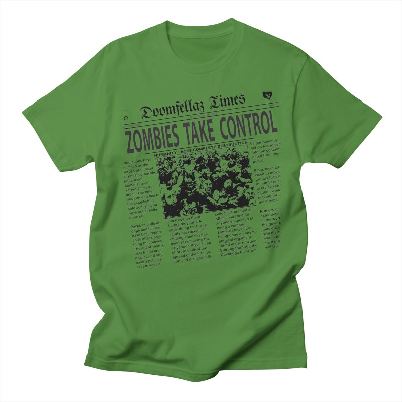 Doomfellaz Zombie Newspaper Men's T-shirt by Ricksans's Artist Shop