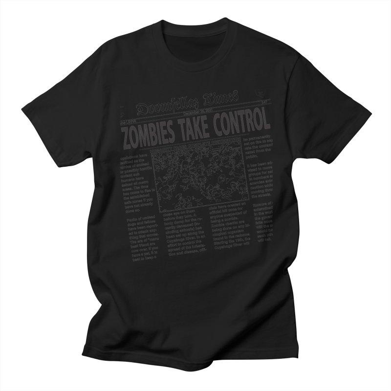 Doomfellaz Zombie Newspaper Men's T-shirt by Ricksans's Artist Shop