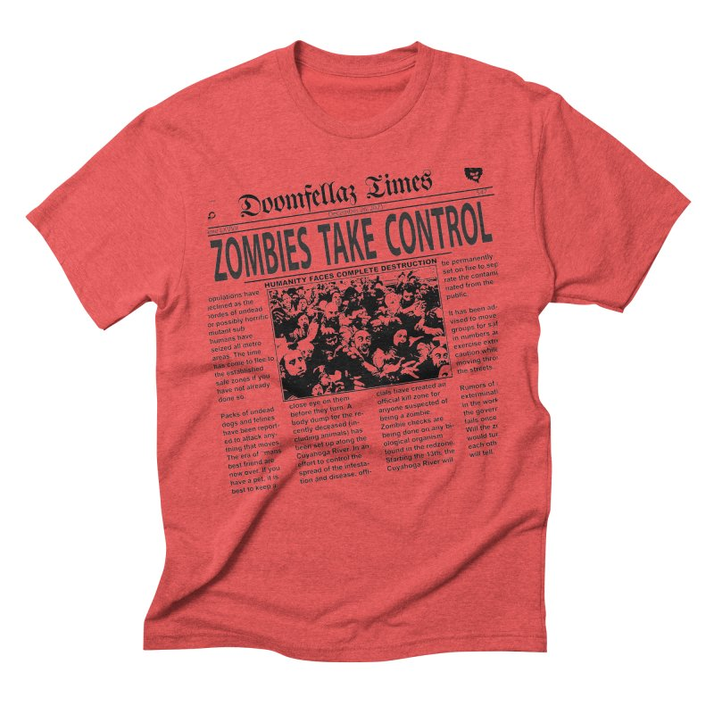 Doomfellaz Zombie Newspaper Men's Triblend T-shirt by Ricksans's Artist Shop