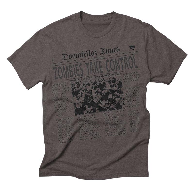 Doomfellaz Zombie Newspaper Men's Triblend T-shirt by Ricksans's Artist Shop