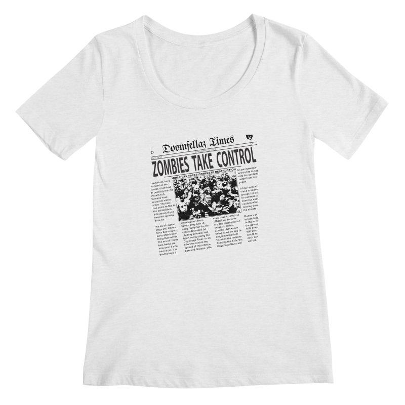 Doomfellaz Zombie Newspaper Women's Scoopneck by Ricksans's Artist Shop