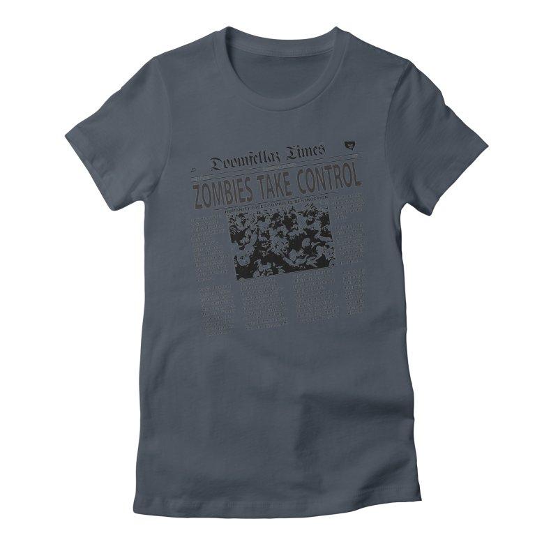 Doomfellaz Zombie Newspaper Women's Fitted T-Shirt by Ricksans's Artist Shop