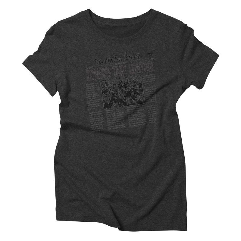 Doomfellaz Zombie Newspaper Women's Triblend T-shirt by Ricksans's Artist Shop