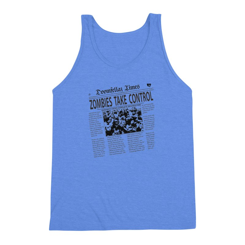 Doomfellaz Zombie Newspaper Men's Triblend Tank by Ricksans's Artist Shop