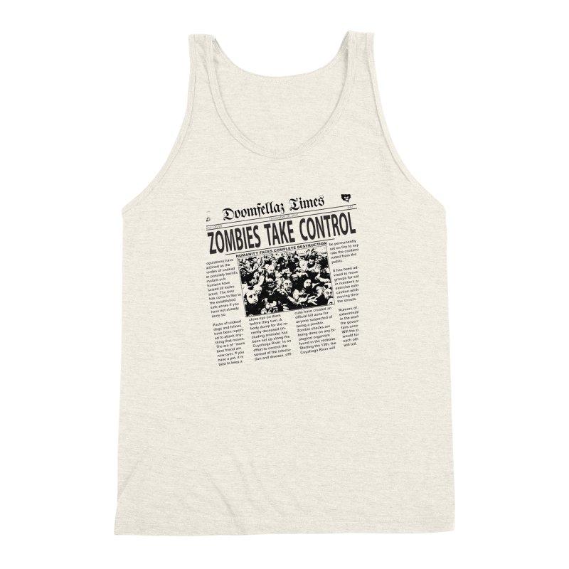 Doomfellaz Zombie Newspaper Men's Triblend Tank by Ricksans's Artist Shop