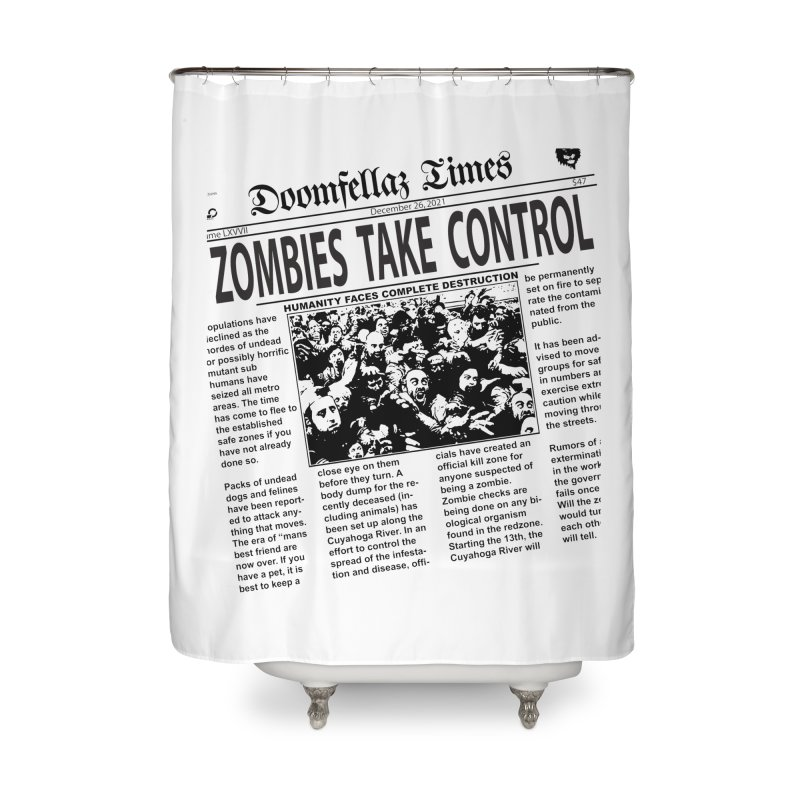 Doomfellaz Zombie Newspaper Home Shower Curtain by Ricksans's Artist Shop
