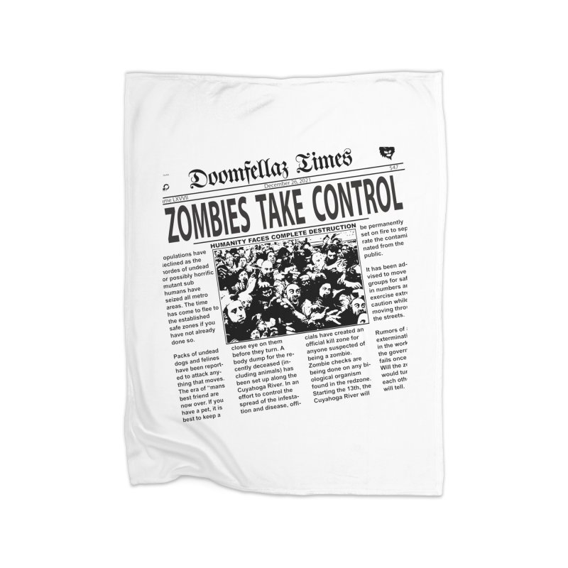 Doomfellaz Zombie Newspaper Home Fleece Blanket by Ricksans's Artist Shop