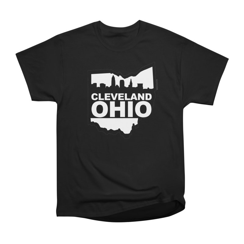 Cleveland Ohio Skyline Men's Heavyweight T-Shirt by Rick Sans' Artist Shop