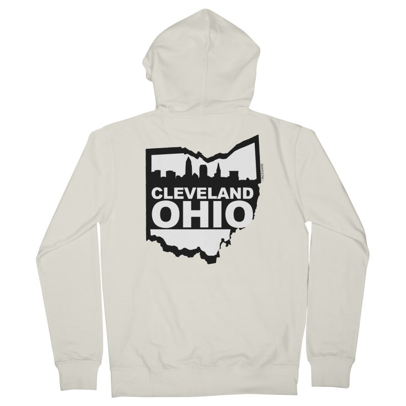 Cleveland Ohio Skyline Men's French Terry Zip-Up Hoody by Rick Sans' Artist Shop