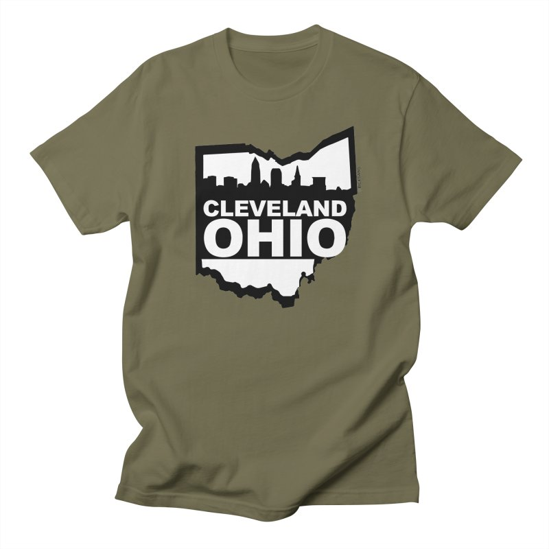 Cleveland Ohio Skyline Men's Regular T-Shirt by Rick Sans' Artist Shop