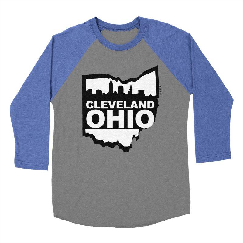 Cleveland Ohio Skyline Men's Baseball Triblend T-Shirt by Ricksans's Artist Shop