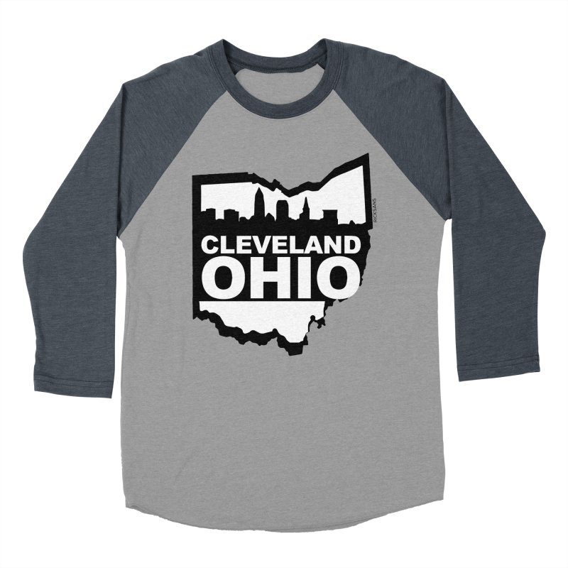 Cleveland Ohio Skyline Men's Baseball Triblend T-Shirt by Ricksans's Artist Shop