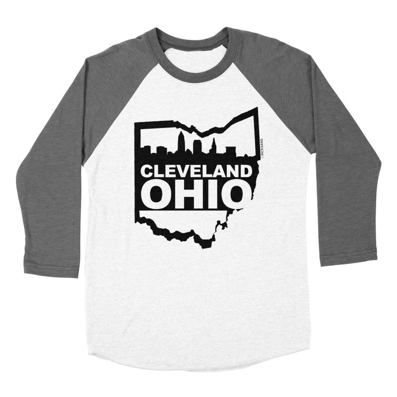 Cleveland Ohio Skyline Men's Baseball Triblend Longsleeve T-Shirt by Rick Sans' Artist Shop