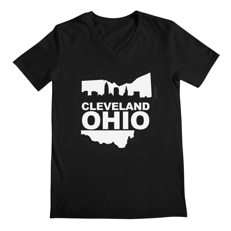 Cleveland Ohio Skyline Men's V-Neck by Ricksans's Artist Shop