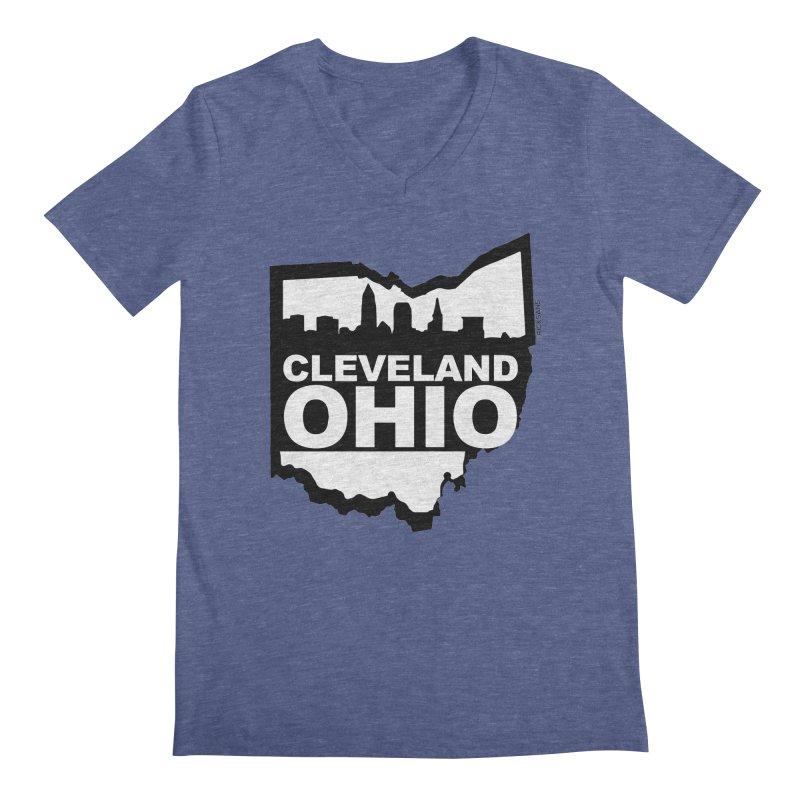 Cleveland Ohio Skyline Men's Regular V-Neck by Rick Sans' Artist Shop