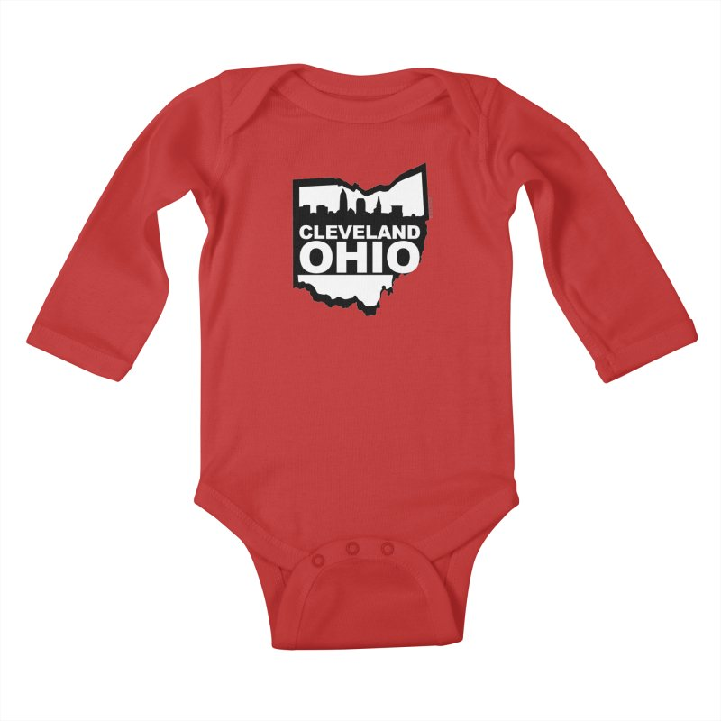 Cleveland Ohio Skyline Kids Baby Longsleeve Bodysuit by Rick Sans' Artist Shop