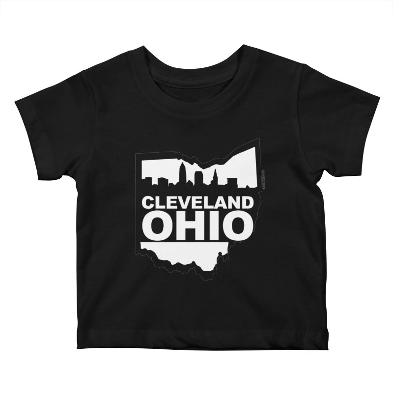 Cleveland Ohio Skyline Kids Baby T-Shirt by Rick Sans' Artist Shop