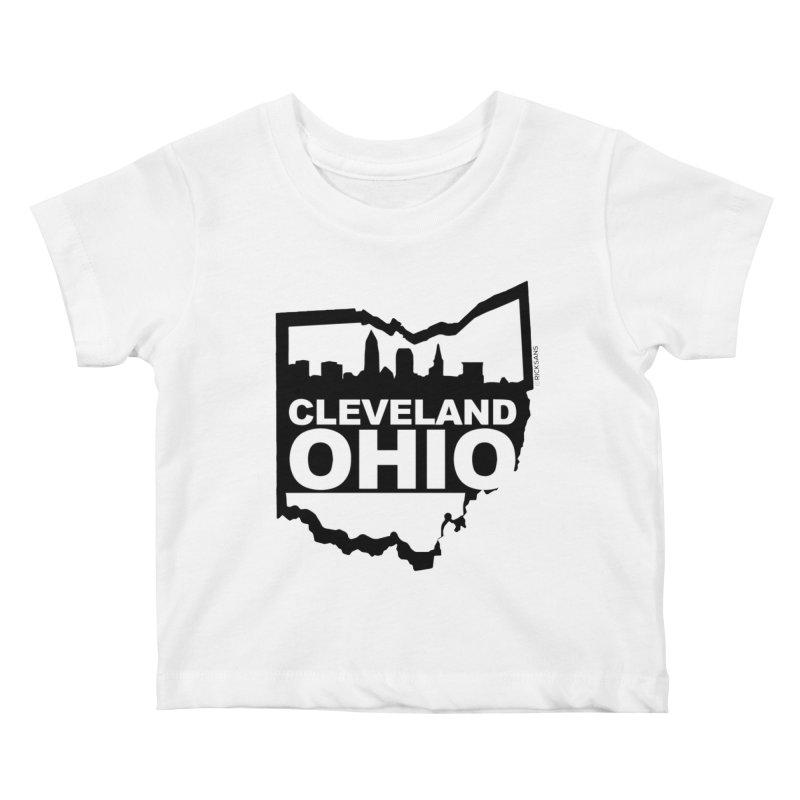 Cleveland Ohio Skyline Kids Baby T-Shirt by Rick Sans' Artist Shop