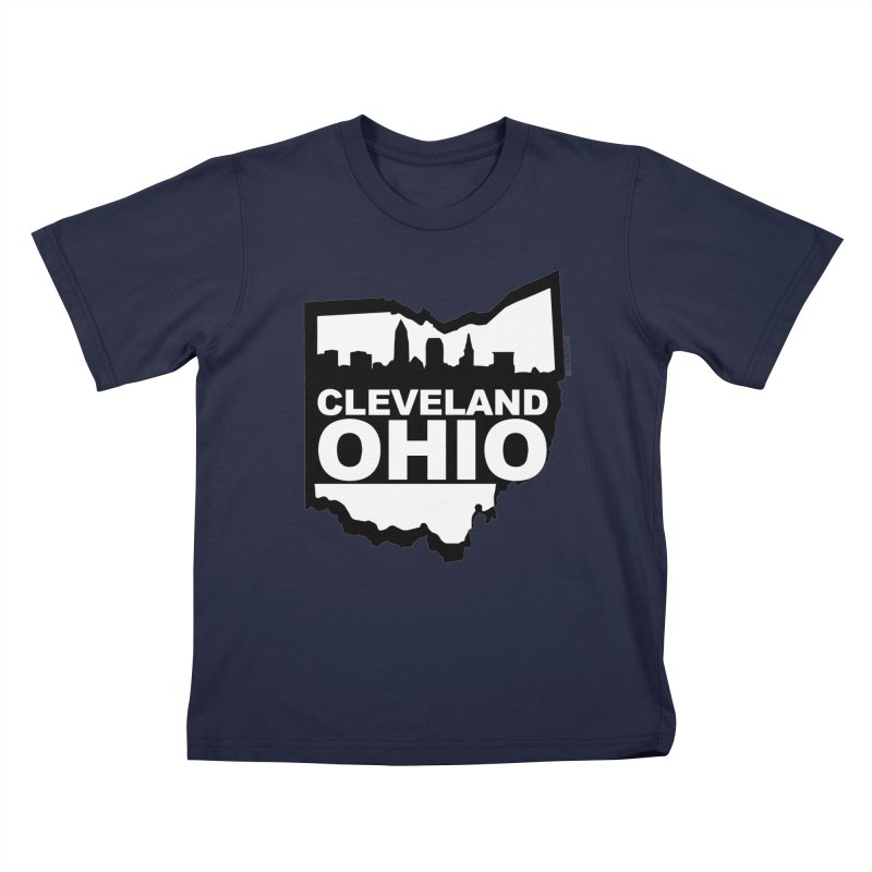 Cleveland Ohio Skyline Kids T-Shirt by Ricksans's Artist Shop
