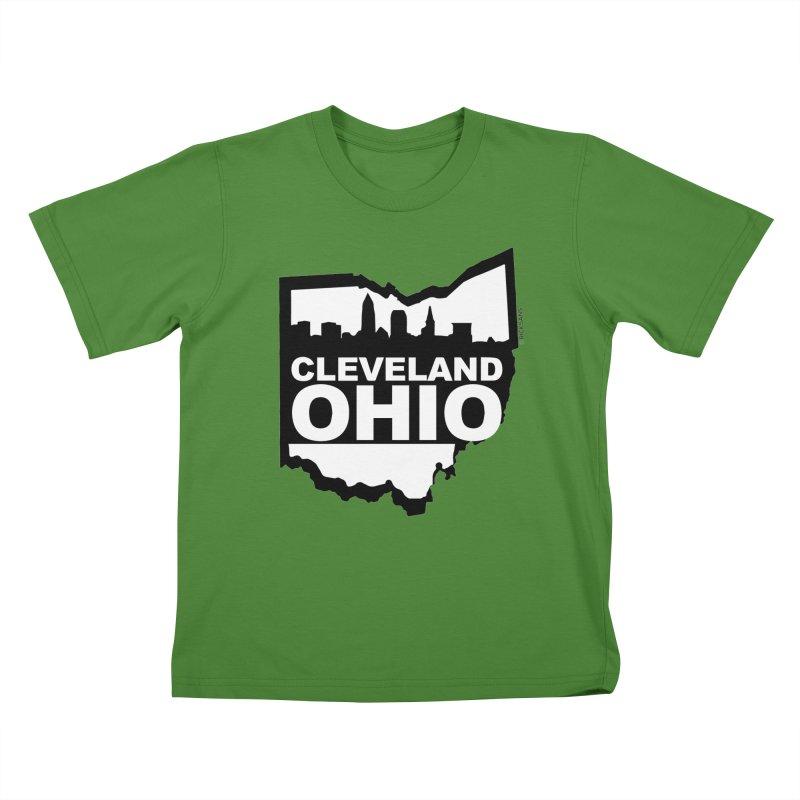 Cleveland Ohio Skyline Kids T-Shirt by Ricksans's Artist Shop