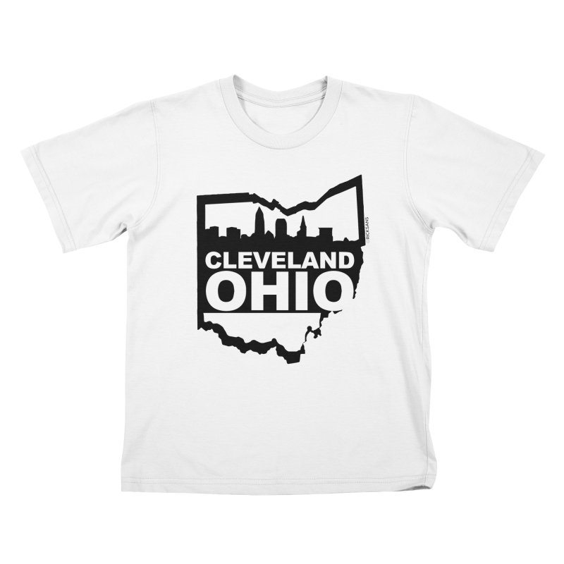 Cleveland Ohio Skyline Kids T-Shirt by Rick Sans' Artist Shop