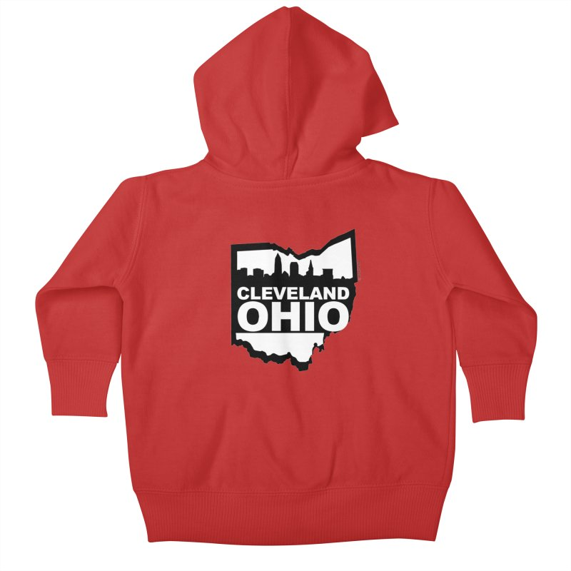 Cleveland Ohio Skyline Kids Baby Zip-Up Hoody by Rick Sans' Artist Shop