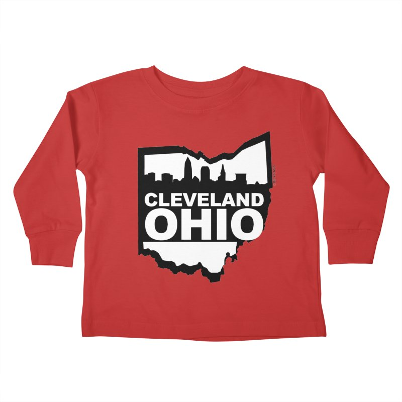 Cleveland Ohio Skyline Kids Toddler Longsleeve T-Shirt by Rick Sans' Artist Shop