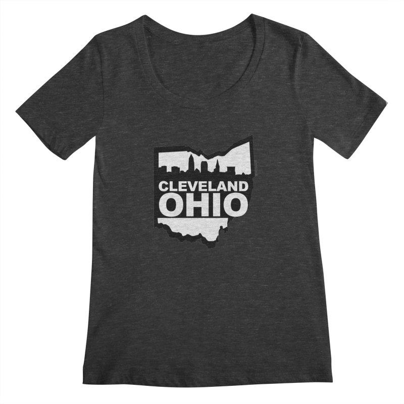 Cleveland Ohio Skyline Women's Scoopneck by Ricksans's Artist Shop