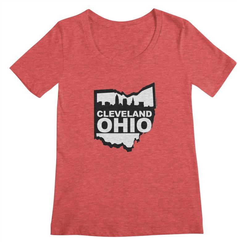Cleveland Ohio Skyline Women's Regular Scoop Neck by Rick Sans' Artist Shop