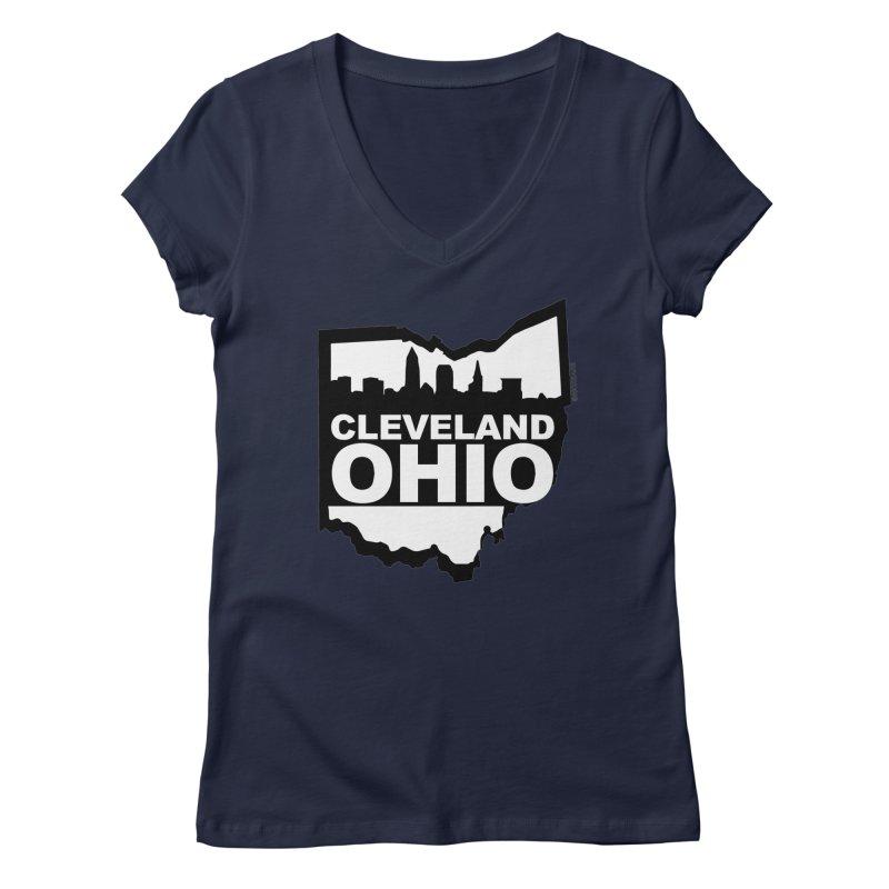 Cleveland Ohio Skyline Women's Regular V-Neck by Ricksans's Artist Shop