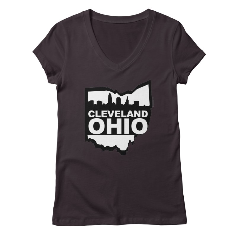Cleveland Ohio Skyline Women's Regular V-Neck by Rick Sans' Artist Shop