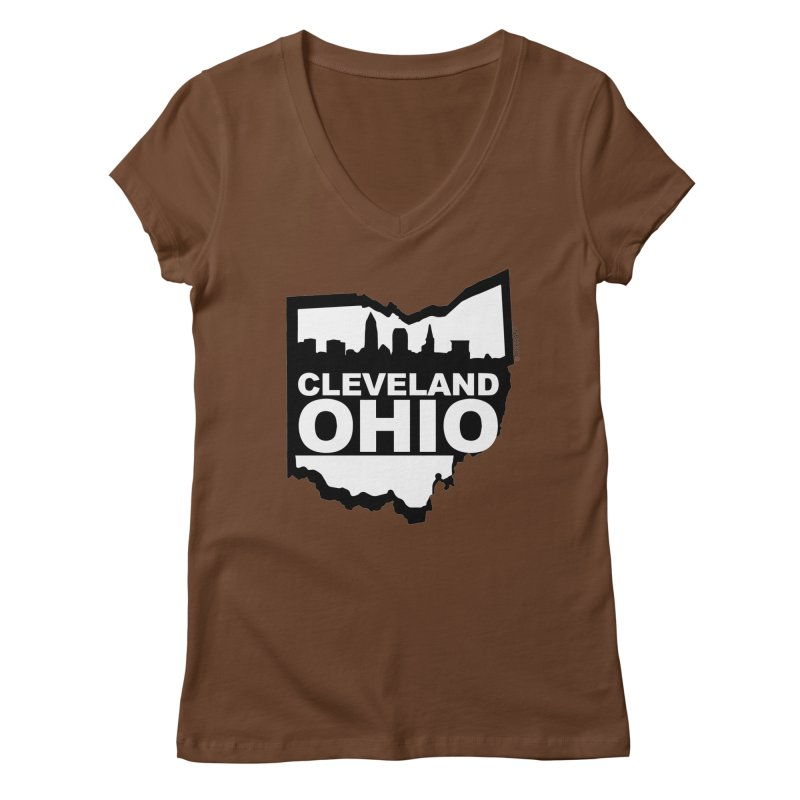 Cleveland Ohio Skyline Women's V-Neck by Ricksans's Artist Shop