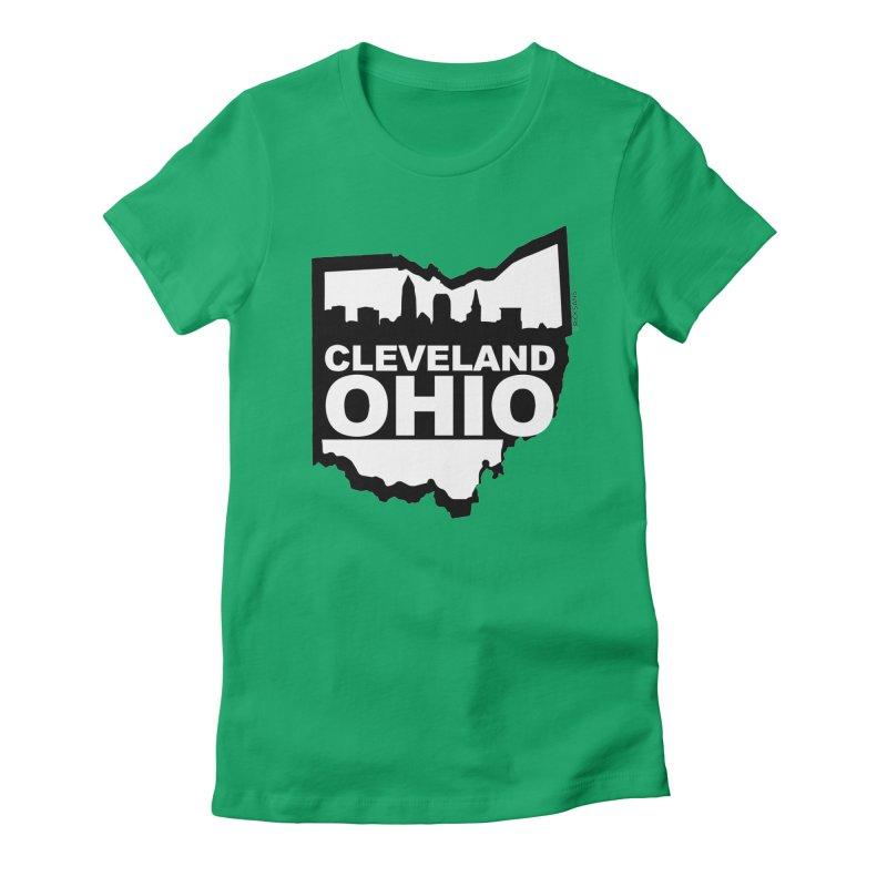 Cleveland Ohio Skyline Women's Fitted T-Shirt by Rick Sans' Artist Shop