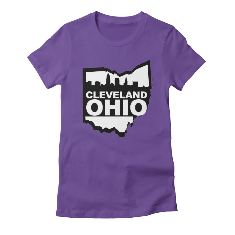 Cleveland Ohio Skyline Women's Fitted T-Shirt by Rick Sans' Artist Shop