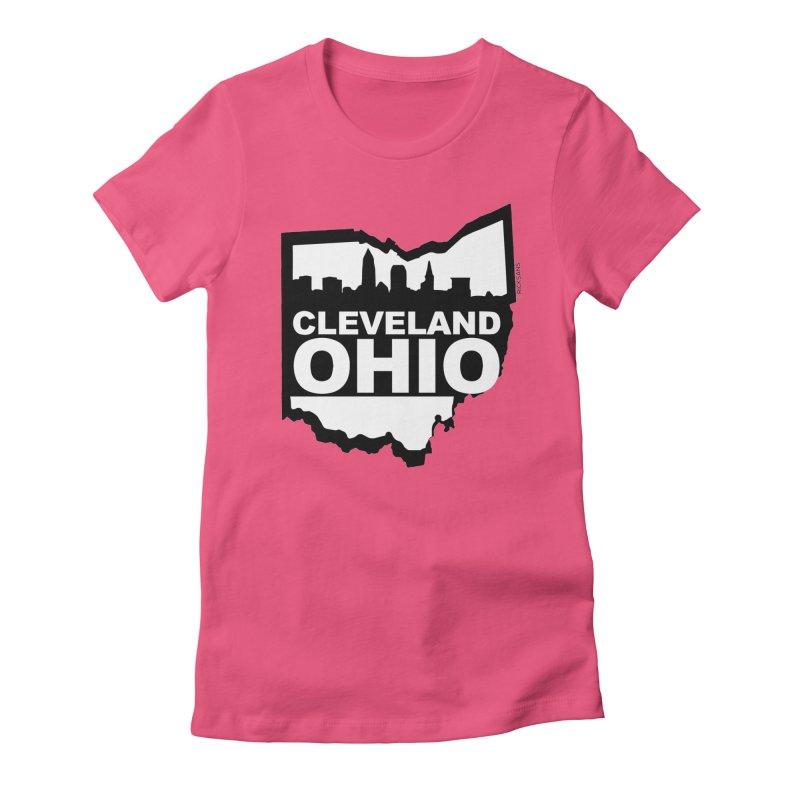 Cleveland Ohio Skyline Women's Fitted T-Shirt by Ricksans's Artist Shop