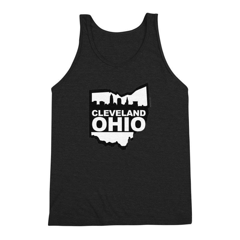 Cleveland Ohio Skyline Men's Triblend Tank by Rick Sans' Artist Shop