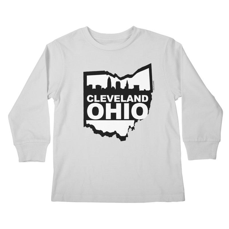 Cleveland Ohio Skyline Kids Longsleeve T-Shirt by Ricksans's Artist Shop