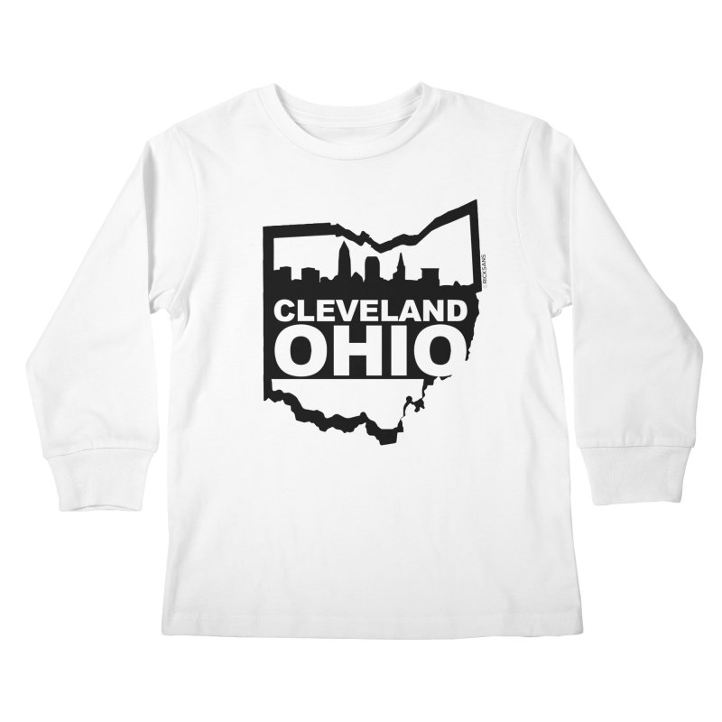 Cleveland Ohio Skyline Kids Longsleeve T-Shirt by Rick Sans' Artist Shop